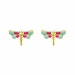 Boucles d'Oreilles Enfant Puces Libellules OR 750/1000 Jaune