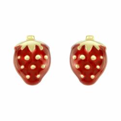 Boucles d'Oreilles Enfant Puces Fraises OR 750/1000 Jaune