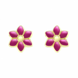 Boucles d'Oreilles Enfant Puces Fleurs OR 750/1000 Jaune