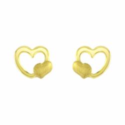 Boucles d'Oreilles Puces Coeurs OR 750/1000 Jaune