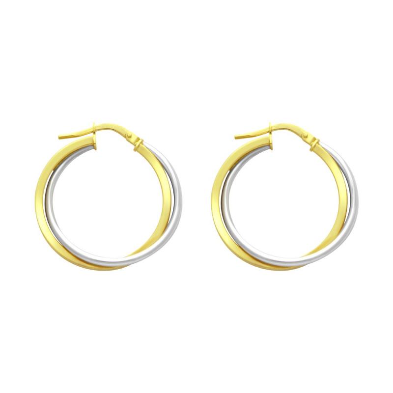 Boucles d'oreilles Femme Créoles OR 750/1000 Bicolore
