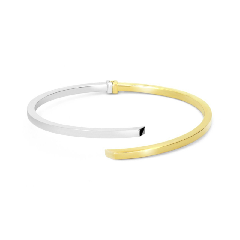 Bracelet Femme Jonc Ouvrant OR 750/1000 Bicolore