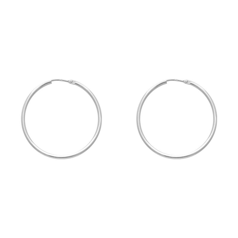 Boucles d'oreilles Femme Créoles OR 750/1000 Blanc