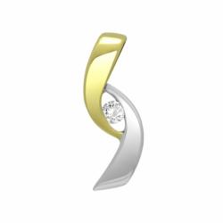 Pendentif Femme Solitaire OR 750/1000 Bicolore et Diamant