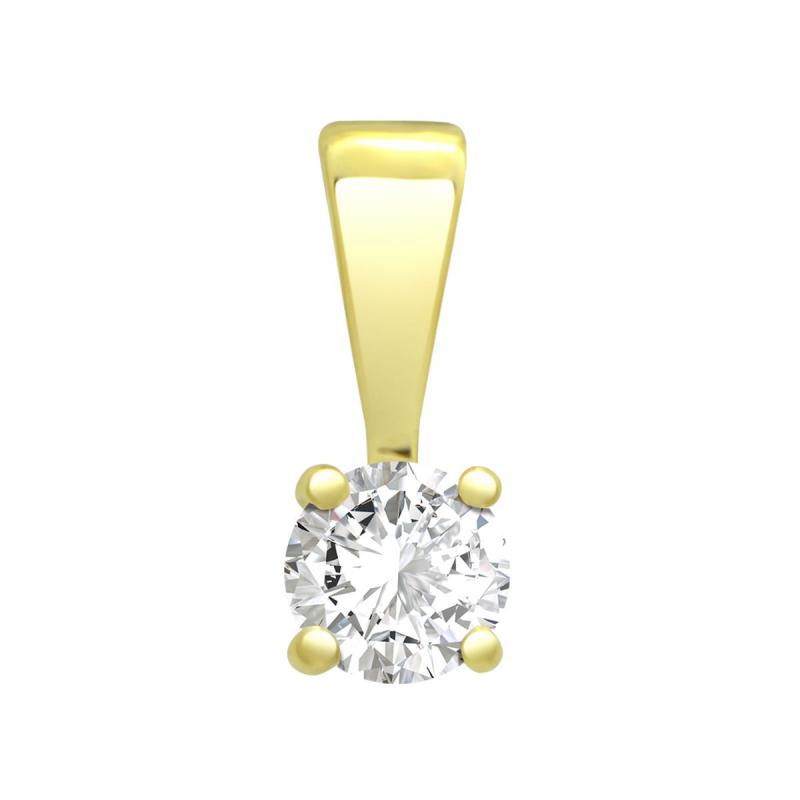 Pendentif Femme Solitaire OR 750/1000 Jaune et Diamant