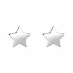Boucles d'Oreilles Enfant Puces Etoiles OR 750/1000 Blanc