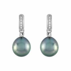 Boucles d'Oreilles Femme Pendantes OR 750/1000 Blanc, diamants et perles de tahiti