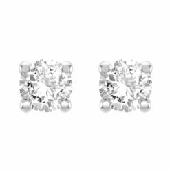 Boucles d'Oreilles Femme Puces OR 750/1000 Blanc et Diamants