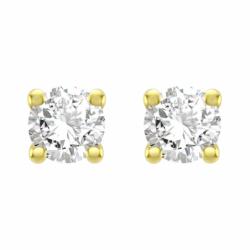 Boucles d'Oreilles Femme Puces OR 750/1000 Jaune et Diamants