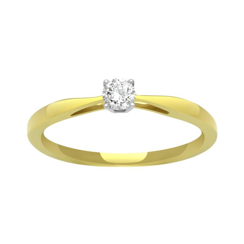 Bague Femme Solitaire OR 750/1000 Jaune et Diamants