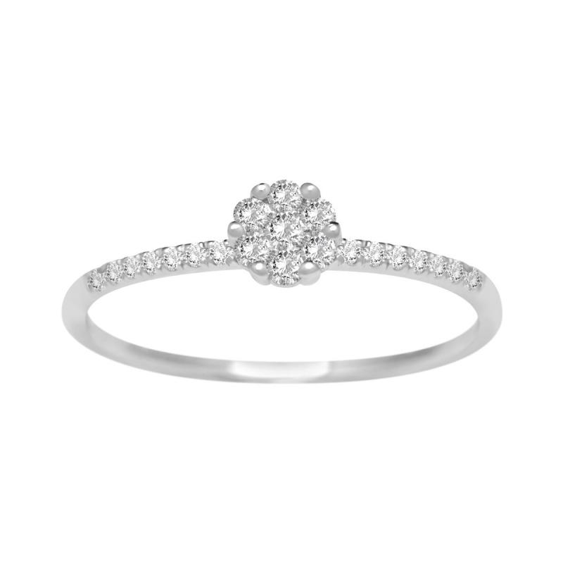 Bague Femme Multi Pierres EDORA  OR 750/1000 Blanc et Diamants