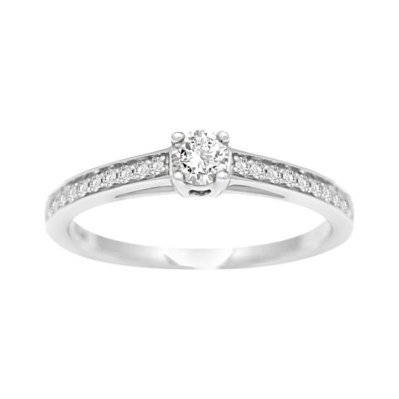 Bague Femme Solitaire Accompagné EDORA OR 750/1000 Blanc et Diamants