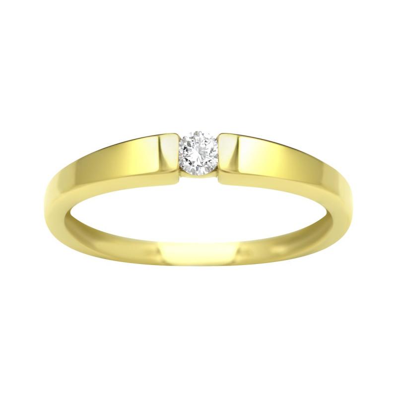 Bague Femme Solitaire OR 750/1000 Jaune et Diamant