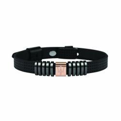 Bracelet Homme MASERATI Acier et Cuir Noir