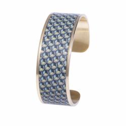 Bracelet Femme Manchette Cube LOUISE'S GARDEN Acier Doré