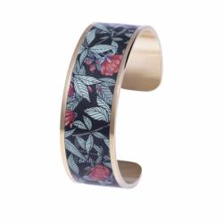 Bracelet Femme Manchette Coquelicot LOUISE'S GARDEN Acier Doré