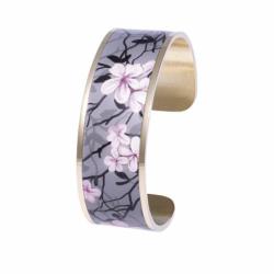 Bracelet Femme Manchette Végétal Magnolia LOUISE'S GARDEN Acier Doré