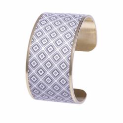 Bracelet Femme Manchette Bohème Hypercubes LOUISE'S GARDEN Acier Doré