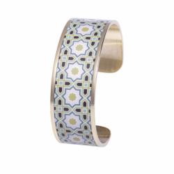 Bracelet Femme Manchette Mosaïque de Noël LOUISE'S GARDEN Acier Doré