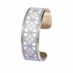 Bracelet Femme Manchette Mosaïque de printemps LOUISE'S GARDEN Acier Doré