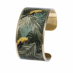Bracelet Femme Manchette oiseau Loriot LOUISE'S GARDEN Acier Doré