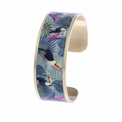 Bracelet Femme Manchette Toucan LOUISE'S GARDEN Acier Doré