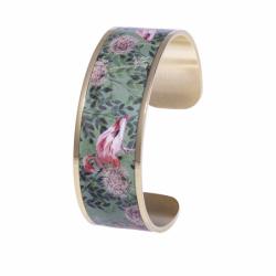 Bracelet Femme Manchette Flamant Rose LOUISE'S GARDEN Acier Doré
