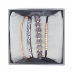 Bracelet Femme Jonc Fil INTERCHANGEABLE Strass Box Cristaux Swarovski® blanc et perles prunes