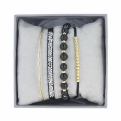 Bracelet Femme Jonc Fil INTERCHANGEABLE Strass Box Cristaux Swarovski® blanc et perles noires