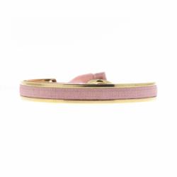 Bracelet Femme Jonc Ruban interchangeable Métal Doré et Satin rose
