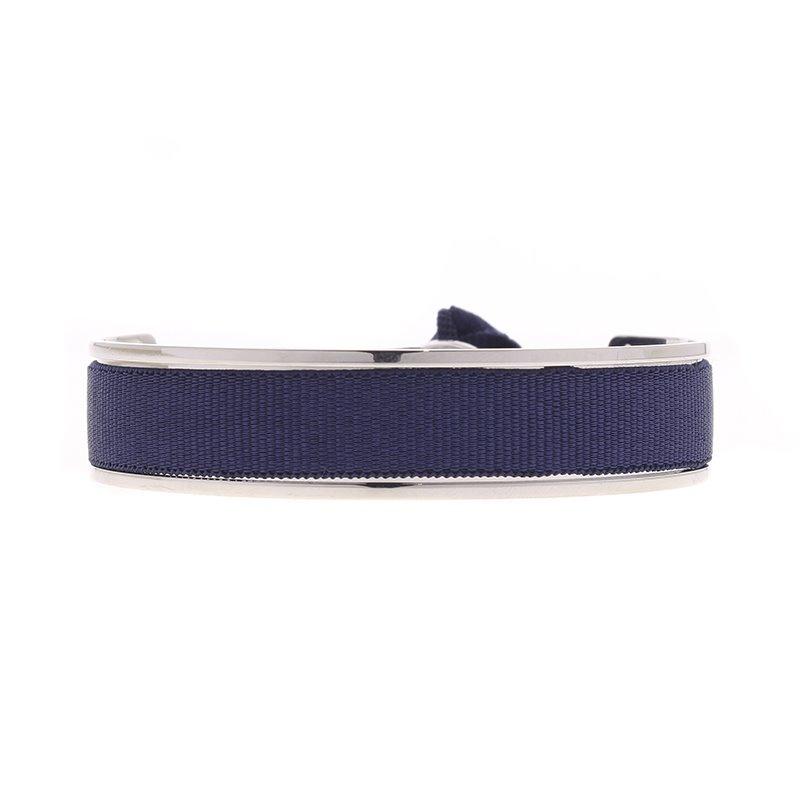 Bracelet Femme Jonc Ruban interchangeable Métal Argenté et Satin Bleu Marine