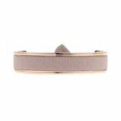 Bracelet Femme Jonc Ruban interchangeable Métal Doré Rose et Satin Beige