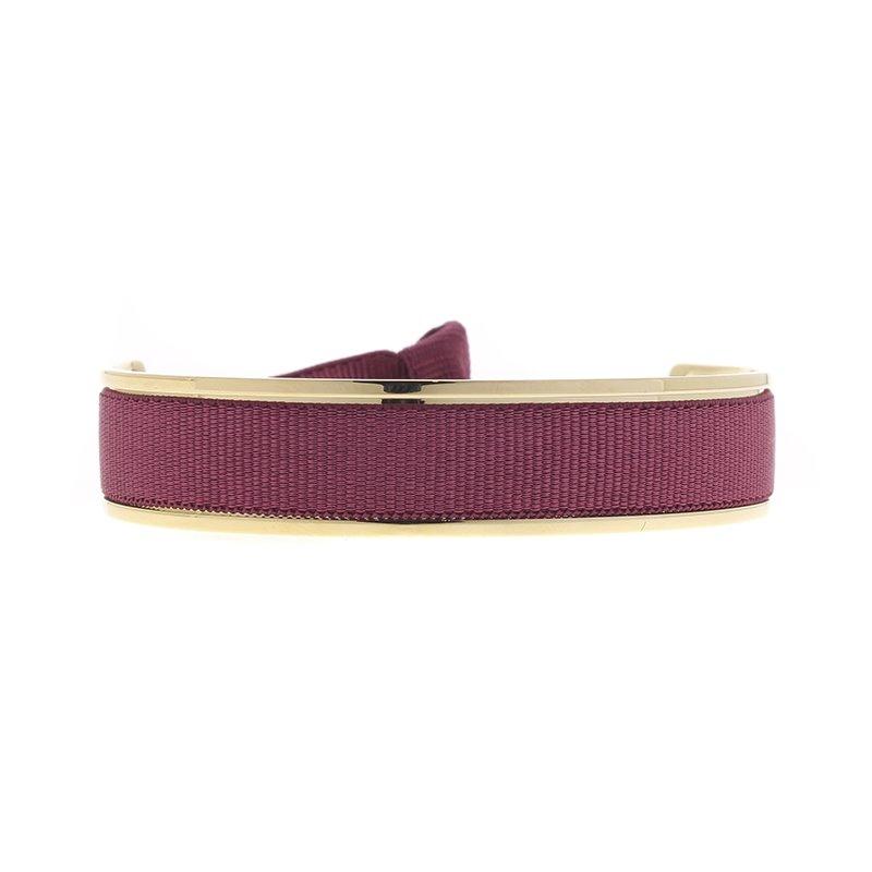 Bracelet Femme Jonc Ruban interchangeable Métal doré et Satin Lie de Vin