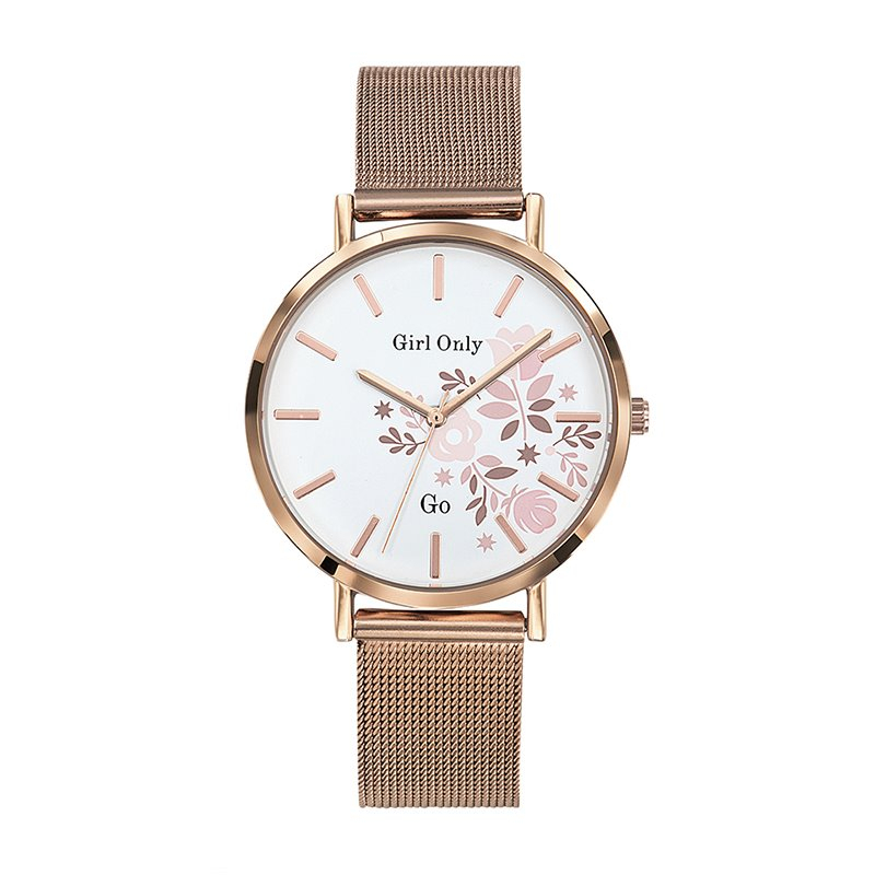 Montre femme Girl Only maille milanaise doré rose