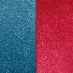 Cuir Réversible Pour Boucles d'Oreilles Les Georgettes Bleu Pétrole et Framboise