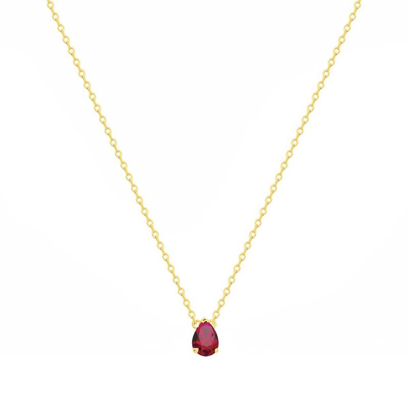 Collier Femme Solitaire PLAQUE OR Jaune et Spinelle Rouge