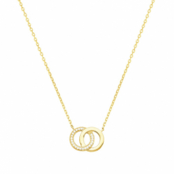 Collier Femme Cercles PLAQUE OR Jaune et Oxydes