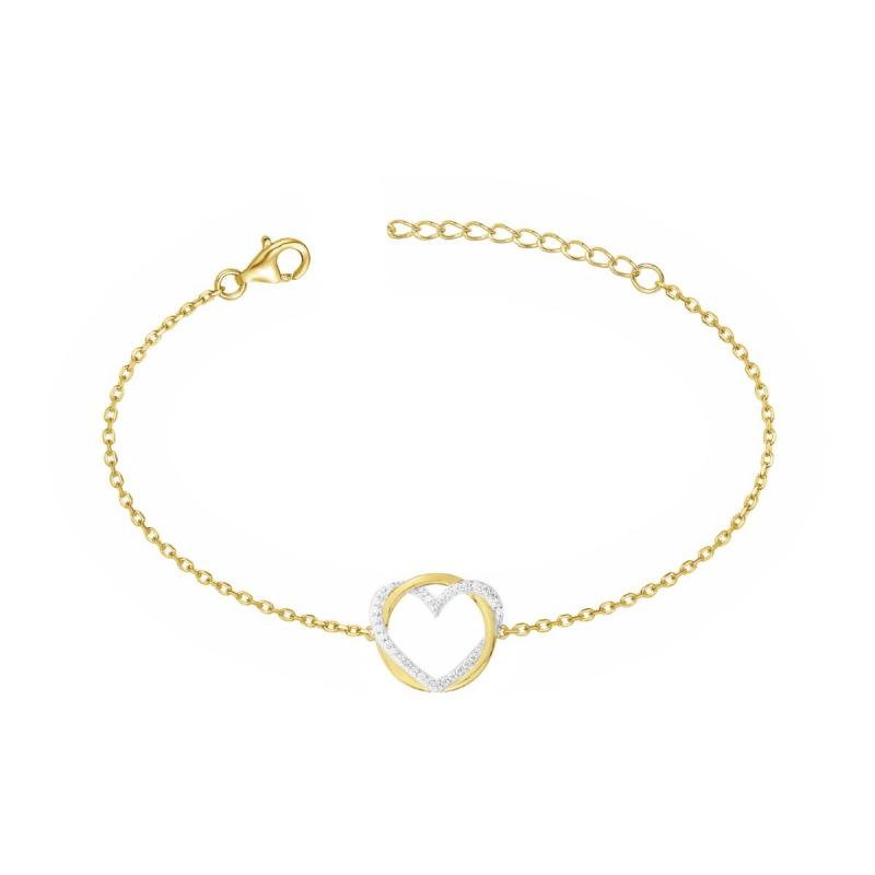 Bracelet Femme Coeur PLAQUE OR Jaune et Oxydes