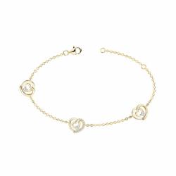 Bracelet Femme Coeurs PLAQUE OR Jaune et Oxydes