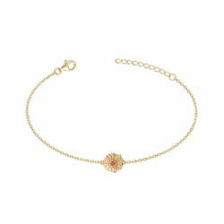 Bracelet Femme Fleure PLAQUE OR jaune et laque