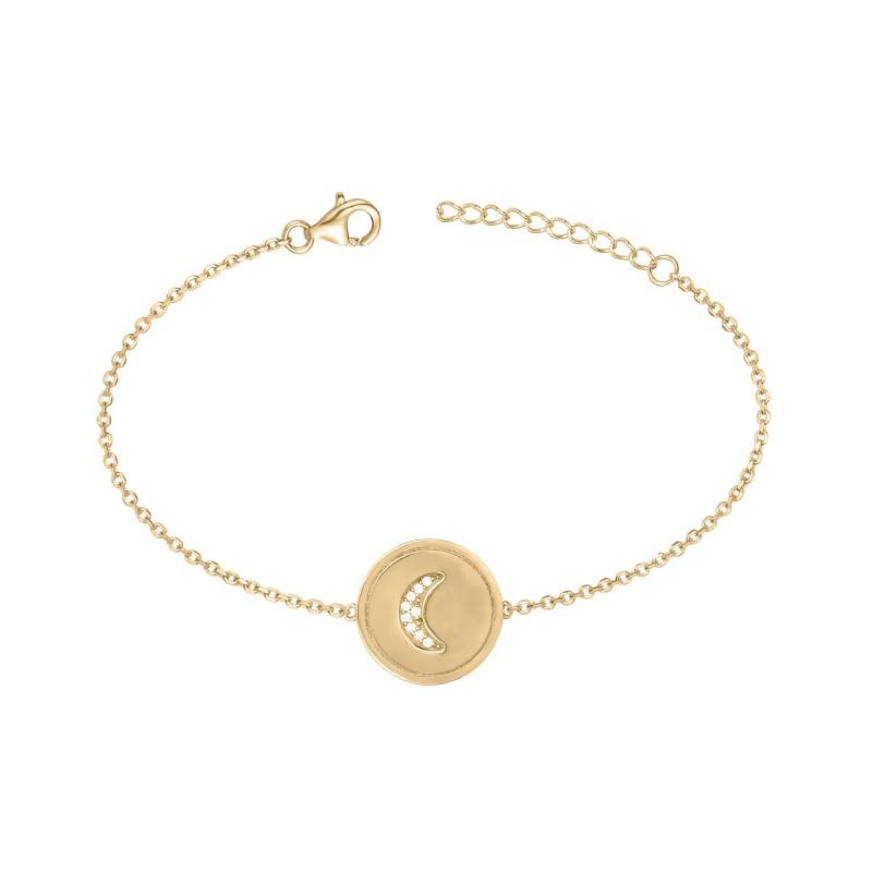 Bracelet Femme croissant de lune PLAQUE OR jaune et Oxydes