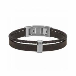 Bracelet Homme Phebus Acier et Cuir Synthétique Tressé Brun
