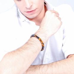 Bracelet Homme PHEBUS Acier  et Oeil de Tigre
