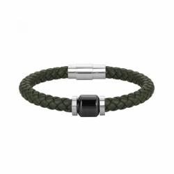 Bracelet Homme PHEBUS Cuir et Céramique noire