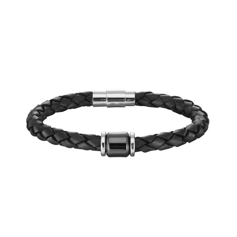 Bracelet Homme Cuir Tresse Phebus Cylindre Céramique