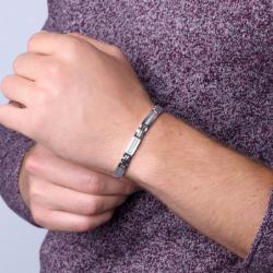 Bracelet Homme Acier Phebus et Carbone blanc