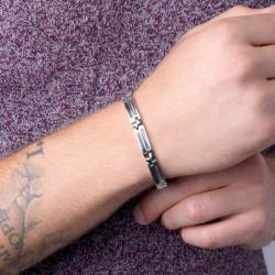 Bracelet Homme PHEBUS Acier  Câble et Carbone