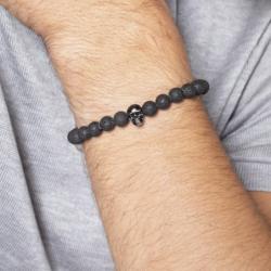 Bracelet Homme Tête de mort PHEBUS LEGEND Acier Noir