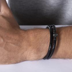 Bracelet Homme Tête de mort PHEBUS LEGEND Acier et Cuir Noir