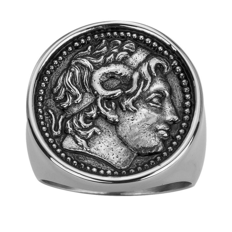 Bague Homme Chevalière Alexandre PHEBUS LEGEND Acier Laqué